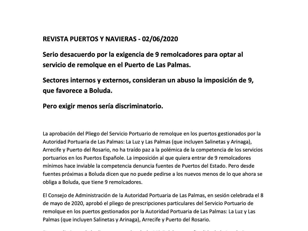 Serio desacuerdo por la exigencia de 9 remolcadores para optar al servicio de remolque en el Puerto de Las Palmas.
