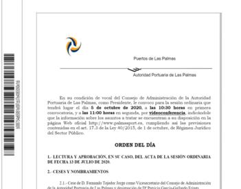 Orden del día Consejo. Oct. 2020