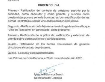 Armas convoca junta extraordinaria para adjudicarle a Trasmediterránea préstamos de bonistas.